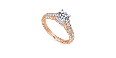 Abigail Vintage 14k Rose Gold Round Straight Engagement Ring