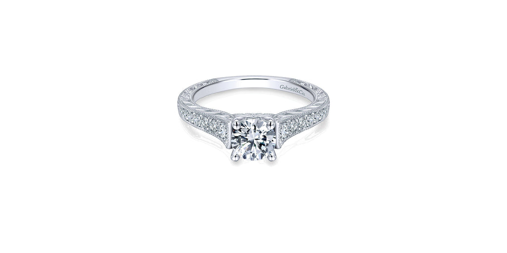 Abigail Vintage 14k White Gold Round Straight Engagement Ring