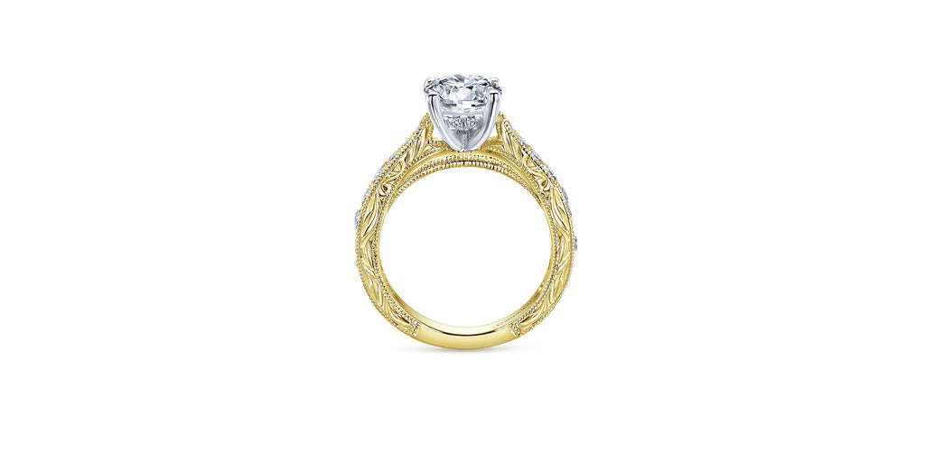 Vintage 14k Yellow Gold Round Tapered Engagement Ring