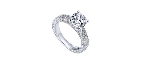 Vintage 14k White Gold Round Tapered Engagement Ring