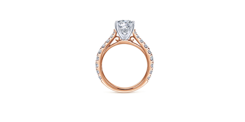 Avery 14k Rose Gold Round Straight Engagement Ring
