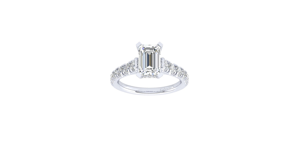 Piper 14k White Gold Emerald Shape Straight Engagement Ring