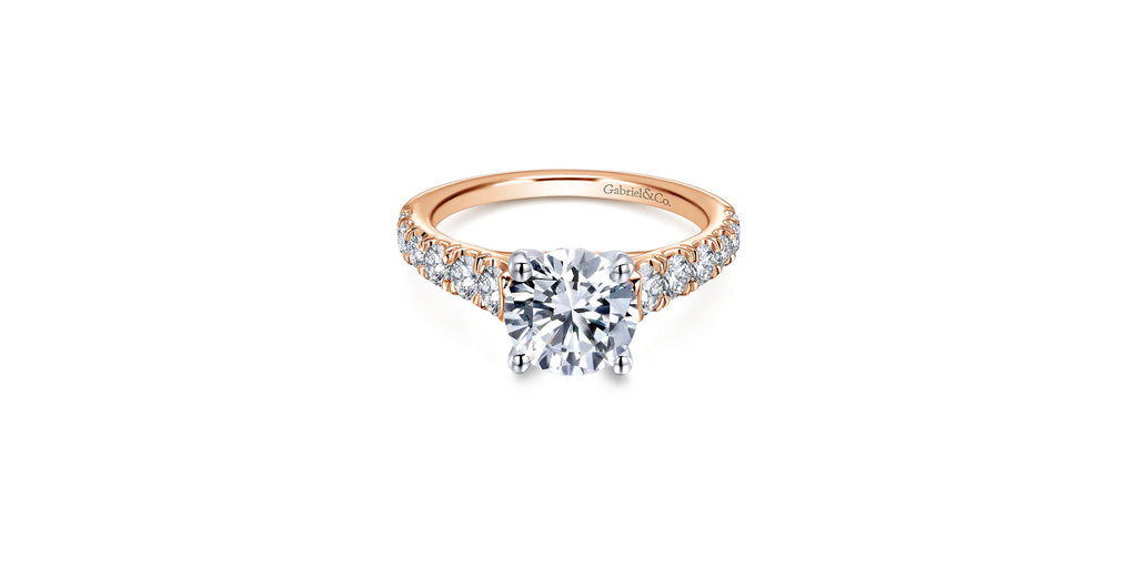 Piper 14k Rose Gold Round Straight Engagement Ring