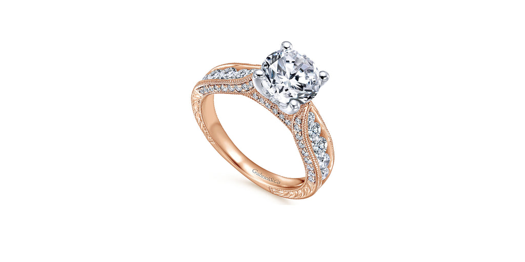 Vintage 14k Rose Gold Round Straight Engagement Ring