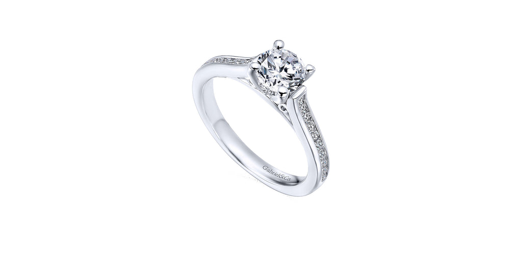 Jayden 14k White Gold Round Straight Engagement Ring