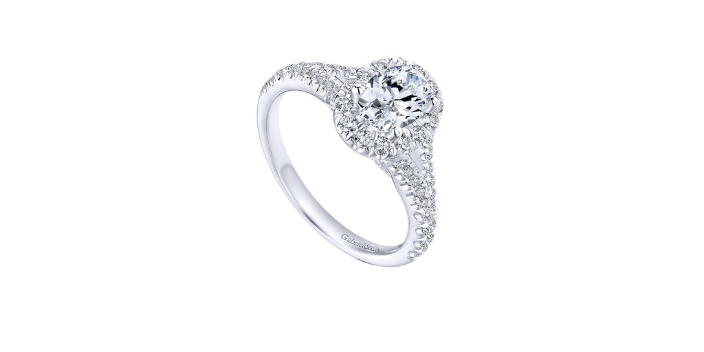 Kennedy 14k White Gold Oval Halo Engagement Ring