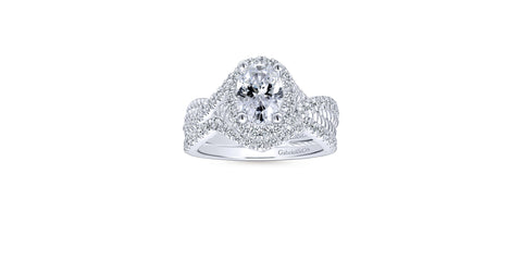 Avalon 14k White Gold Oval Shape Halo Engagement Ring