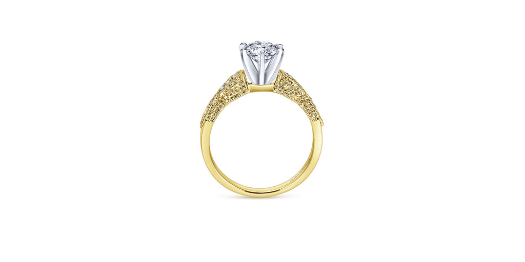 Clara Vintage 14k Yellow Gold Round Straight Engagement Ring
