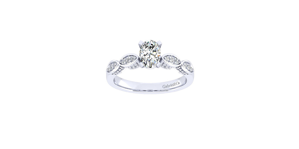 Clara Vintage 14k White Gold Oval Shape Straight Engagement Ring