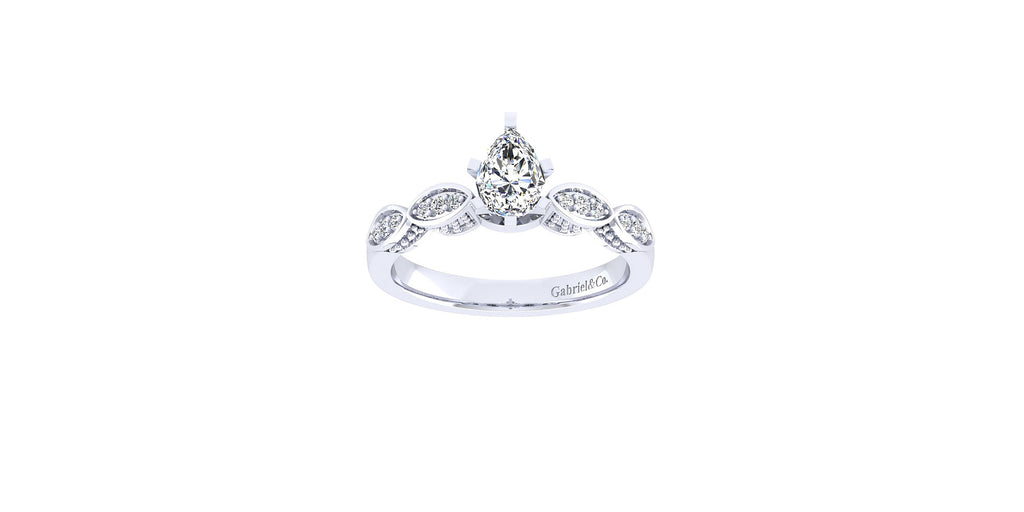 Clara Vintage 14k White Gold Pear Shape Straight Engagement Ring
