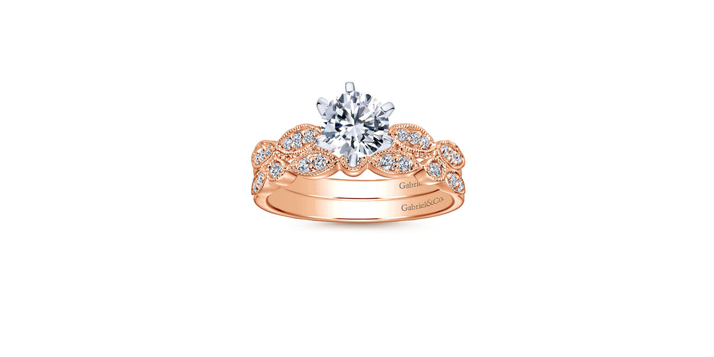 Clara Vintage 14k Rose Gold Round Straight Engagement Ring
