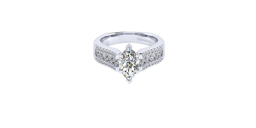 Channing 14k White Gold Marquise Shape Straight Engagement Ring