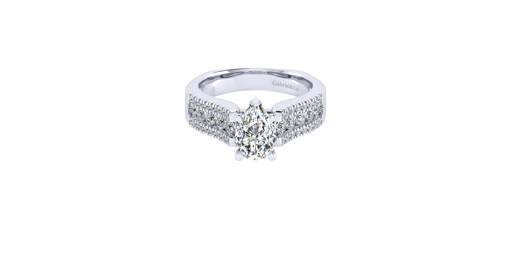 Channing 14k White Gold Pear Shape Straight Engagement Ring