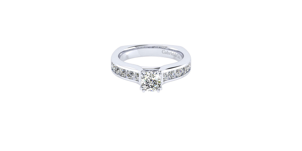 Anderson 14k White Gold Cushion Shape Straight Engagement Ring