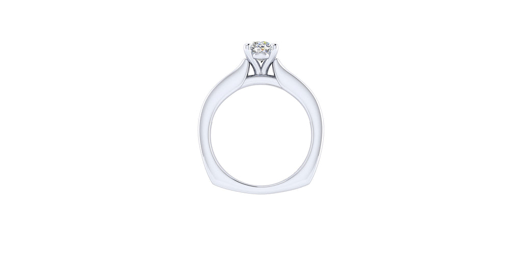 Anderson 14k White Gold Oval Shape Straight Engagement Ring