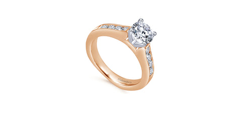Anderson 14k Rose Gold Round Straight Engagement Ring