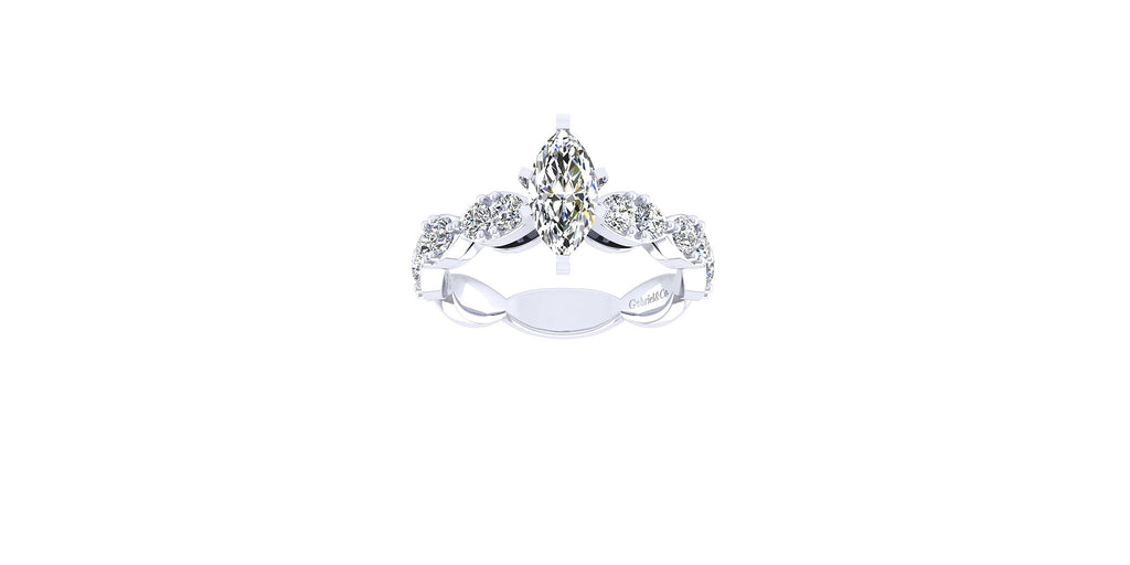 Rowan 14k White Gold Marquise Shape Straight Engagement Ring