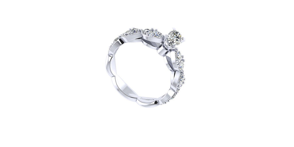 Rowan 14k White Gold Oval Shape Straight Engagement Ring