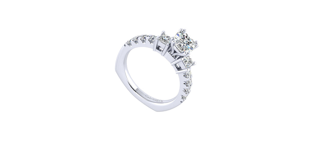 Emerson 14k White Gold Cushion Shape Three Stones Engagement Ring