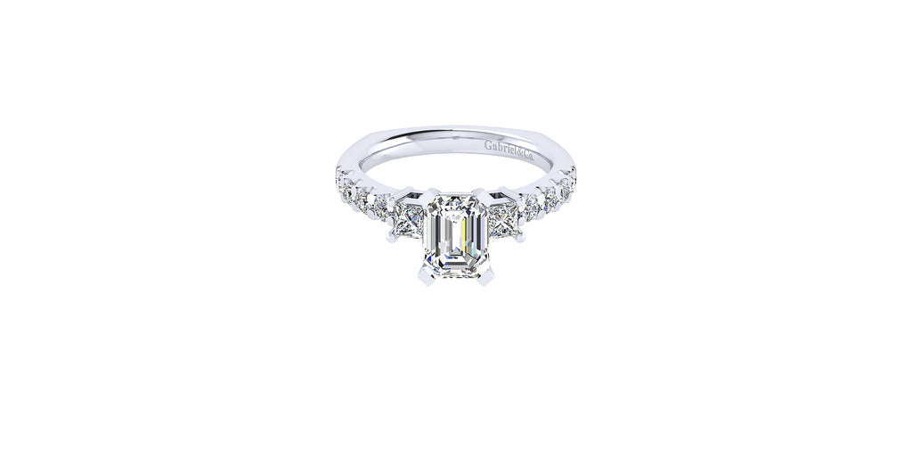 Emerson 14k White Gold Emerald Shape Three Stones Engagement Ring