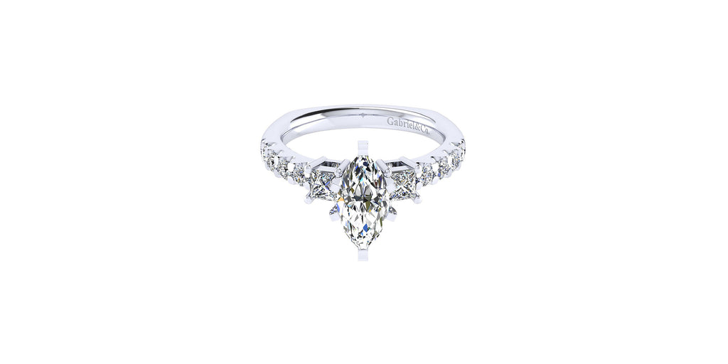 Emerson 14k White Gold Marquise Shape Three Stones Engagement Ring