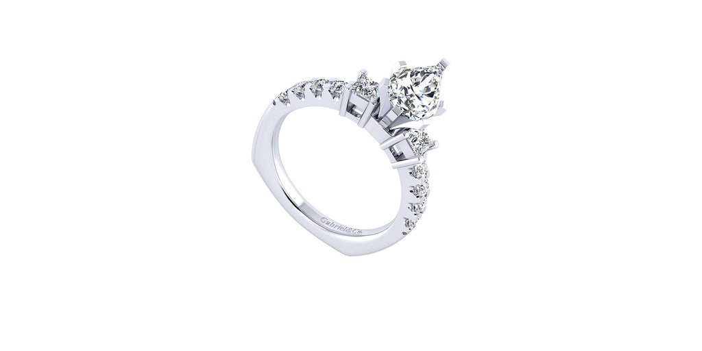Emerson 14k White Gold Pear Shape Three Stones Engagement Ring