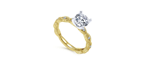 Sadie Vintage 14k Yellow Gold Round Straight Engagement Ring