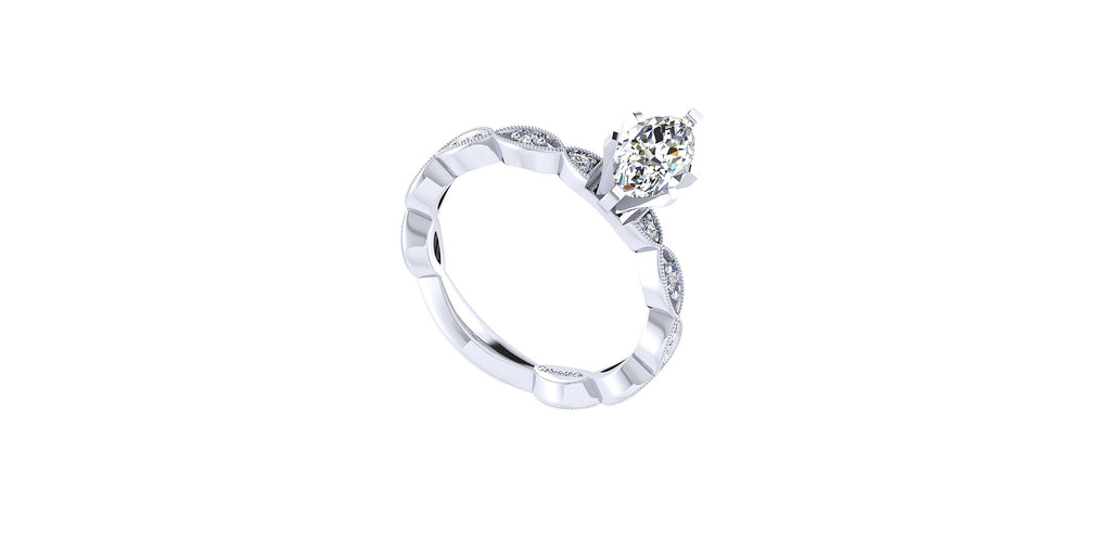 Sadie Vintage 14k White Gold Marquise Shape Straight Engagement Ring