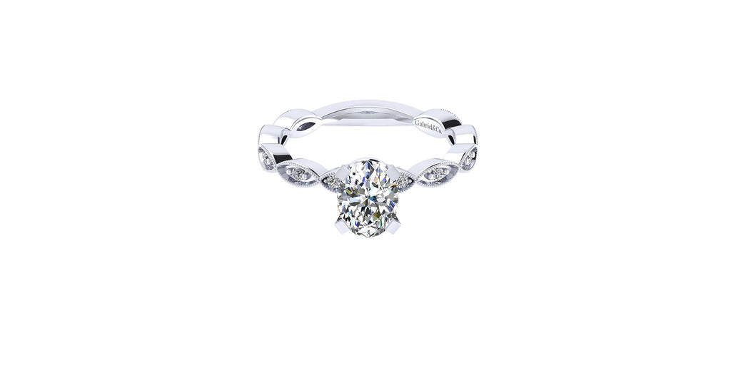 Sadie Vintage 14k White Gold Oval Shape Straight Engagement Ring