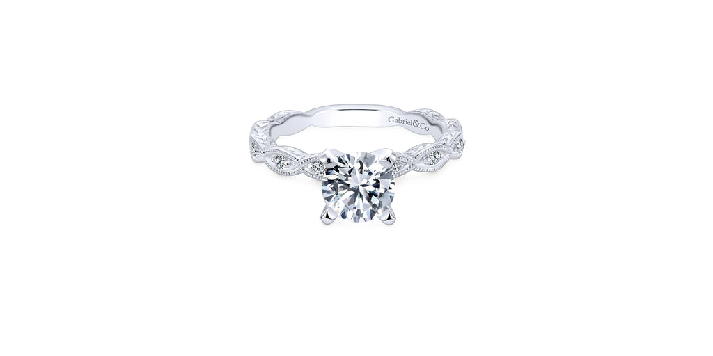 Sadie Vintage Platinum Round Shape Straight Engagement Ring
