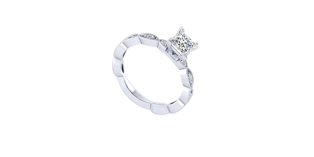 Sadie Vintage 14k White Gold Princess Shape Straight Engagement Ring