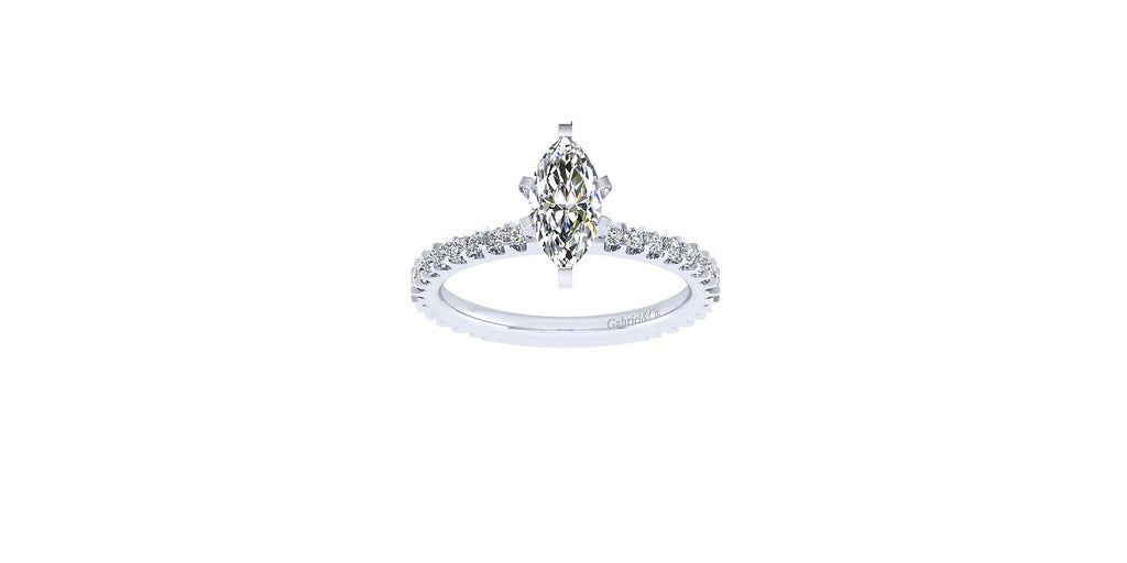 Logan 14k White Gold Marquise Shape Straight Engagement Ring