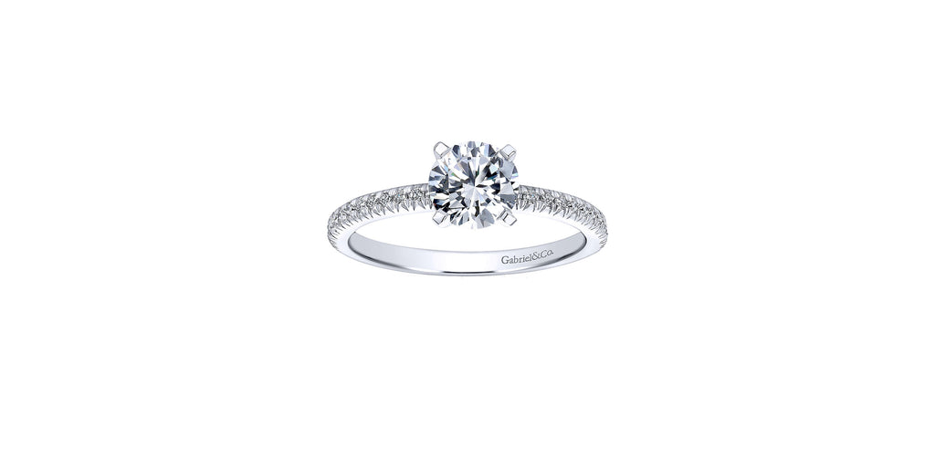 Shane 14k White Gold Round Straight Engagement Ring
