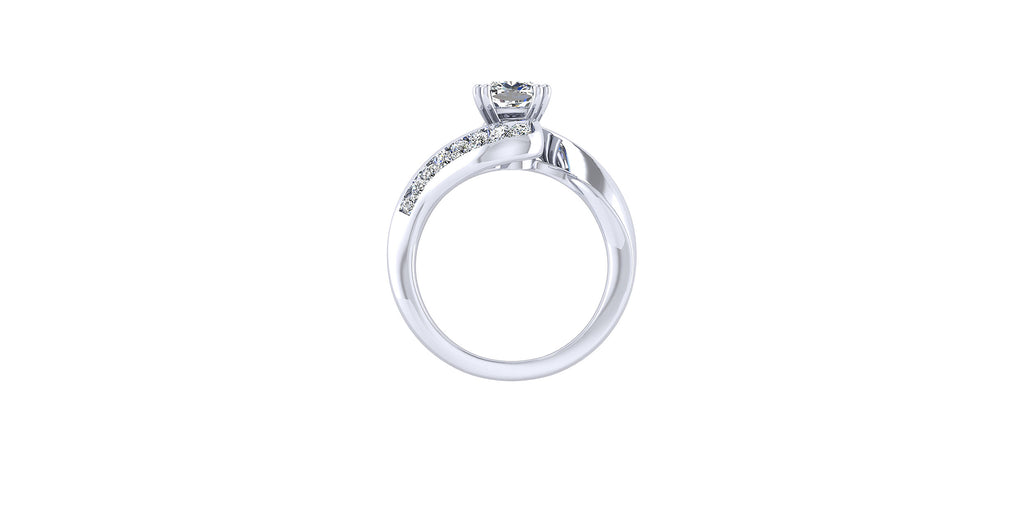 Hayley 14k White Gold Cushion Shape Bypass Engagement Ring
