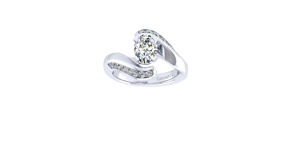 Hayley 14k White Gold Oval Shape Bypass Engagement Ring