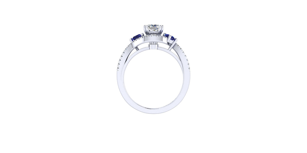 Demi 14k White Gold Cushion Shape Three Stone Bypass Engagement Ring