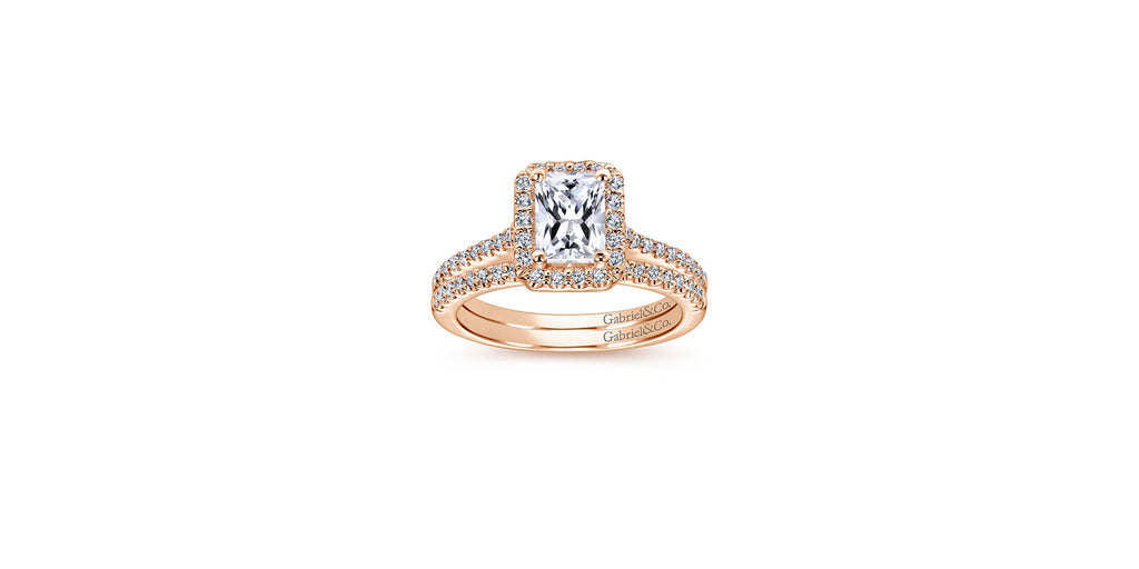 Kelsey 14k Rose Gold Emerald Shape Halo Engagement Ring