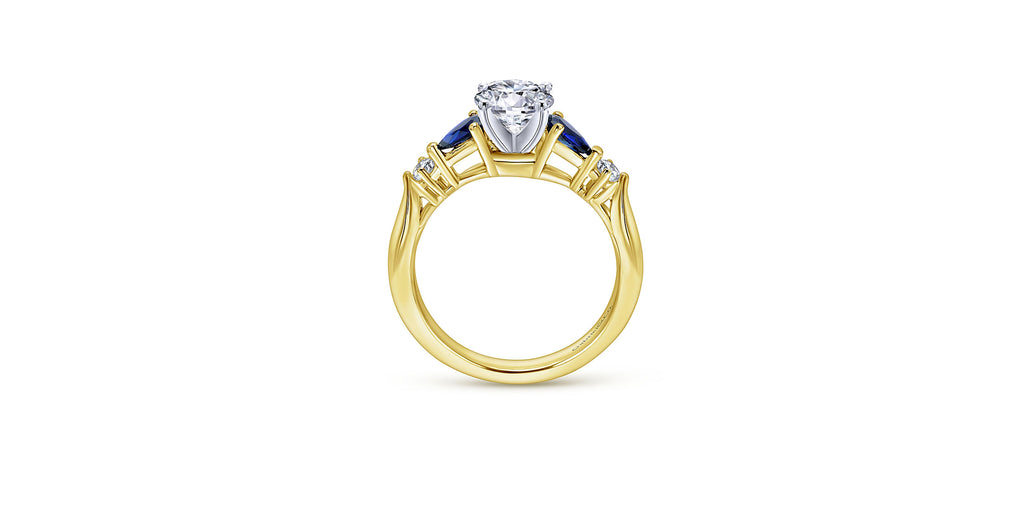 Carrie 14k White & Yellow Gold Round Three Stone Engagement Ring