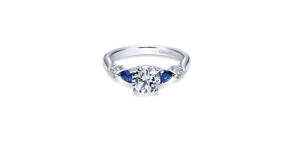 Carrie 14k White Gold Round Three Stone Engagement Ring