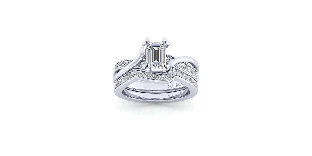 Aleesa 14k White Gold Emerald Shape Twisted Engagement Ring