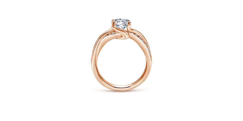 Aleesa 14k Rose Gold Round Twisted Engagement Ring