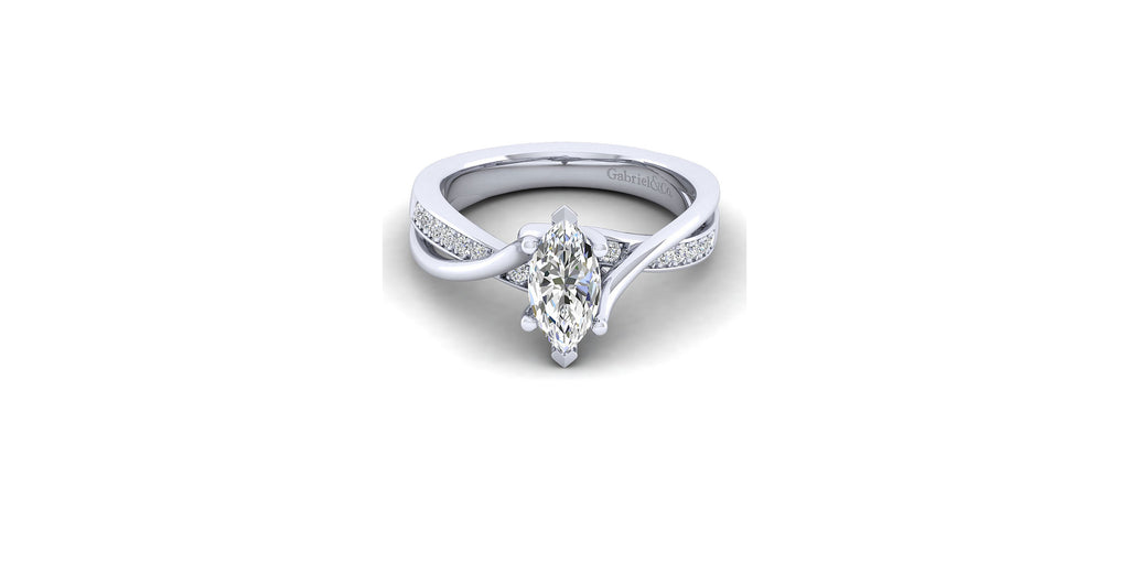 Aleesa 14k White Gold Marquise Shape Twisted Engagement Ring