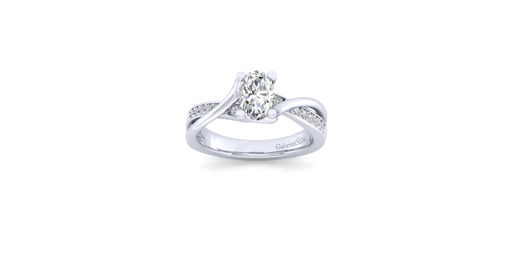Aleesa 14k White Gold Oval Shape Twisted Engagement Ring