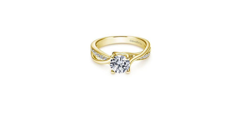 Aleesa 14k Yellow Gold Round Twisted Engagement Ring