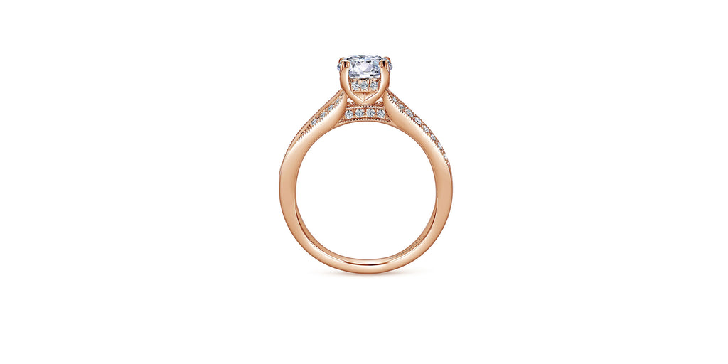 Lynley 14k Rose Gold Round Split Shank Engagement Ring