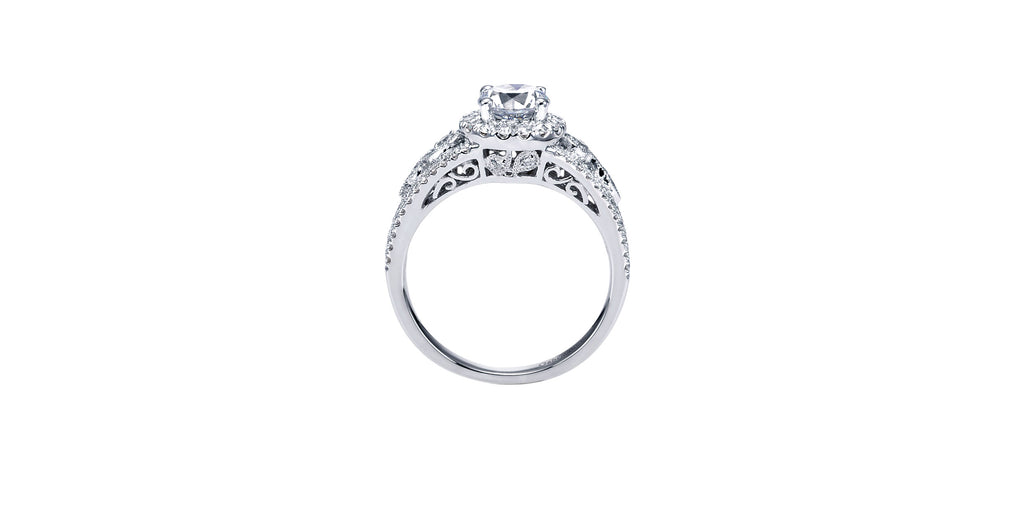 Marlena 14k White Gold Round Halo Engagement Ring