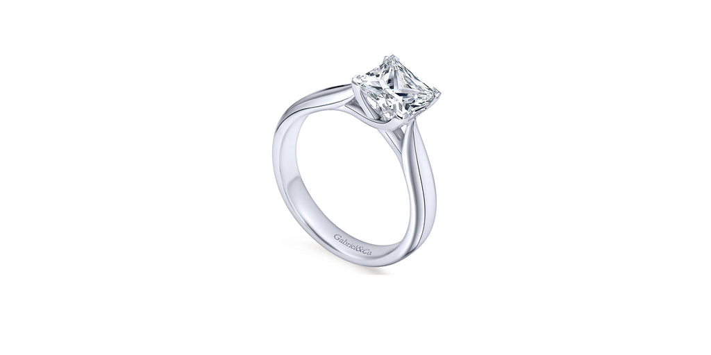 Jamie 14k White Gold Princess Solitaire Engagement Ring