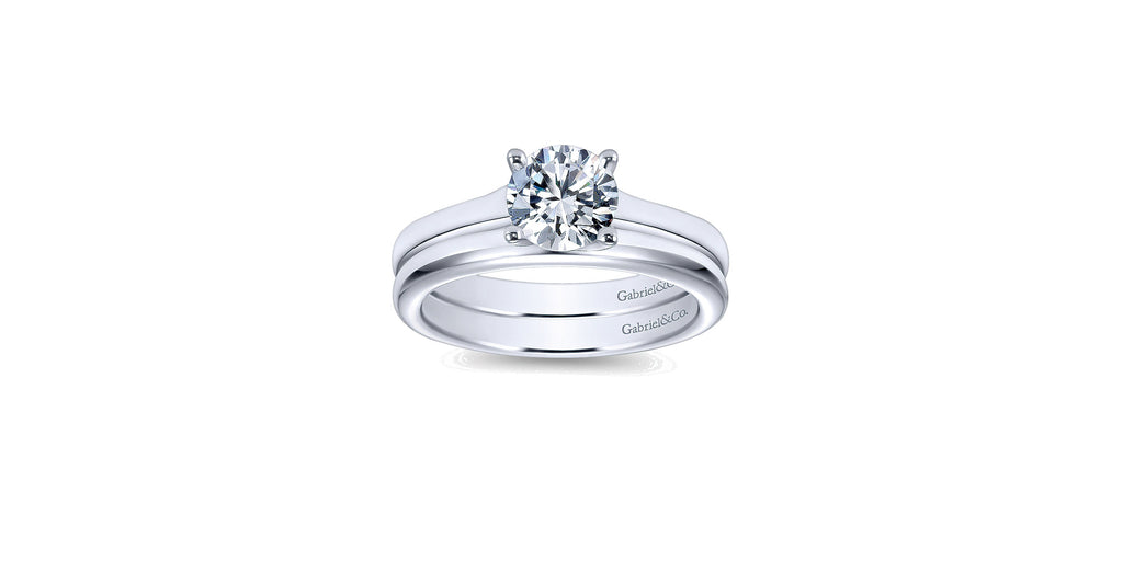 14k White Gold Round Solitaire Engagement Ring