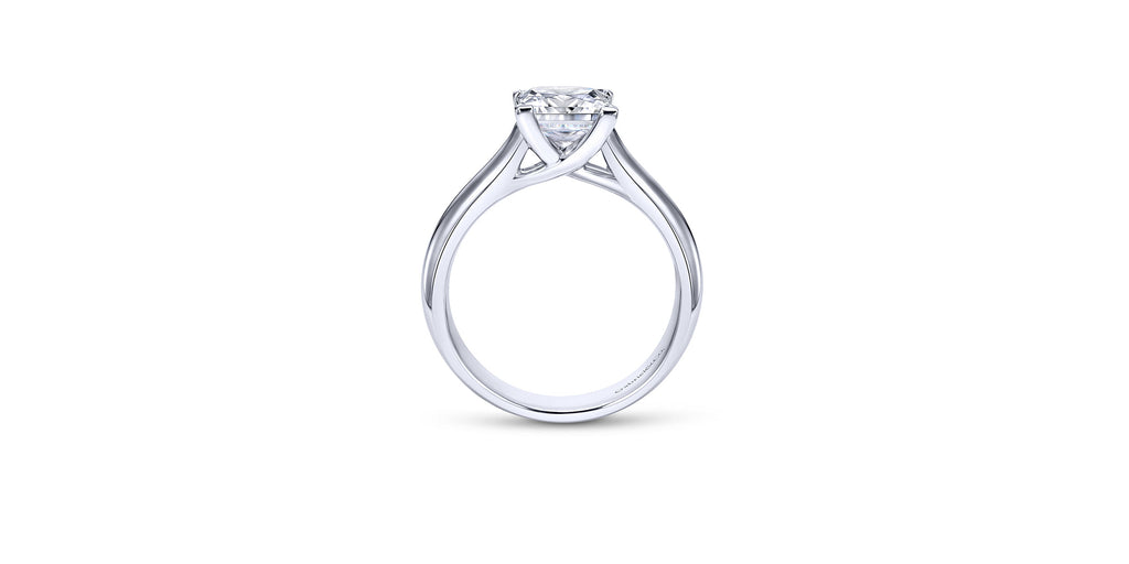 14k White Gold Princess Solitaire Engagement Ring
