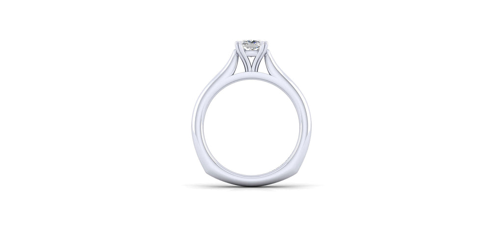 Allie 14k White Gold Cushion Solitaire Engagement Ring
